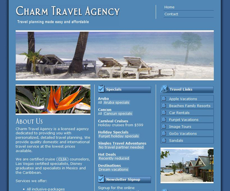 Charm Travel Agency website