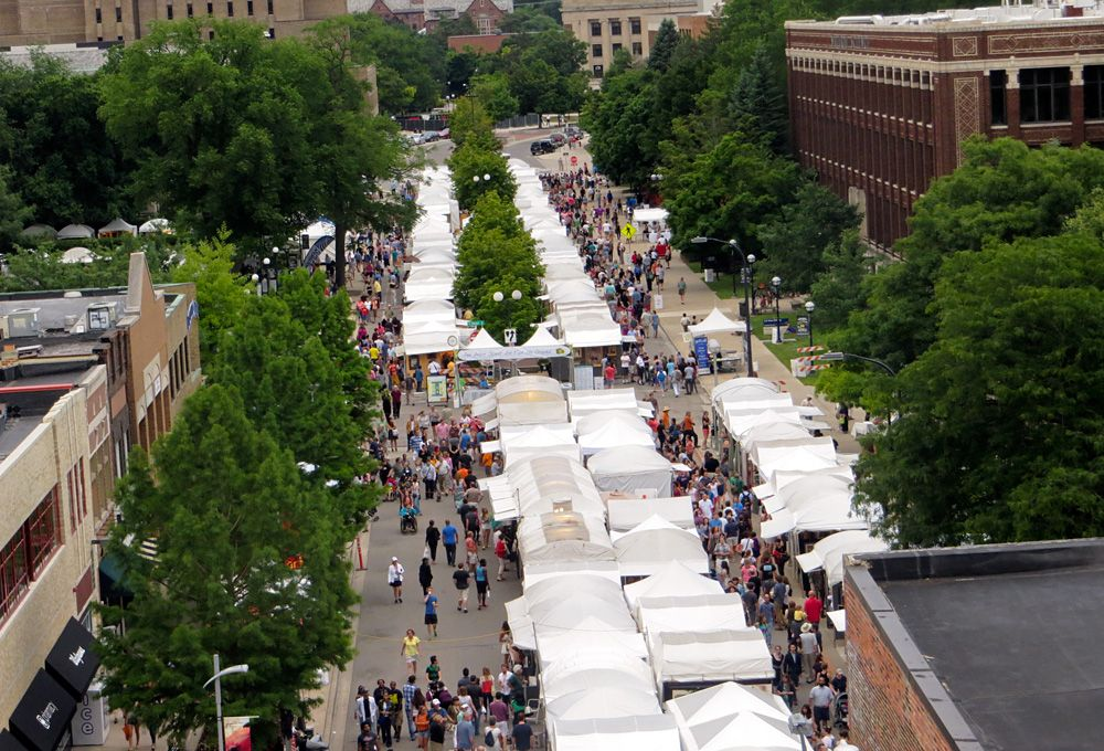 View of the Ann Arbor Art Fair on North University from above