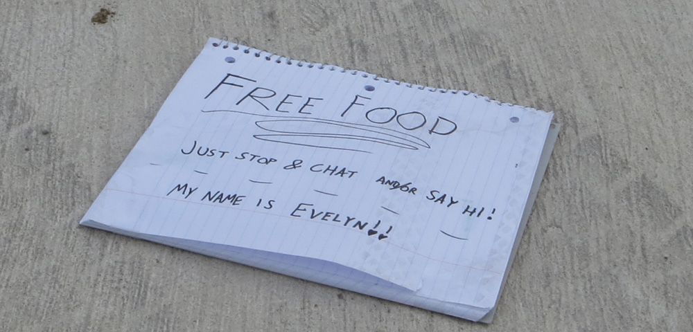 Free Food: Just stop and chat and/or say Hi! My name is Evelyn.