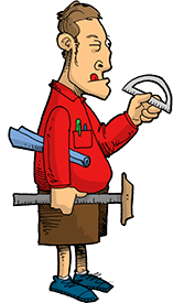 Handyman with protractor, t-square